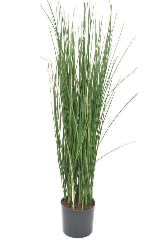 Gräs i kruka, grön konstgjord krukväxt
