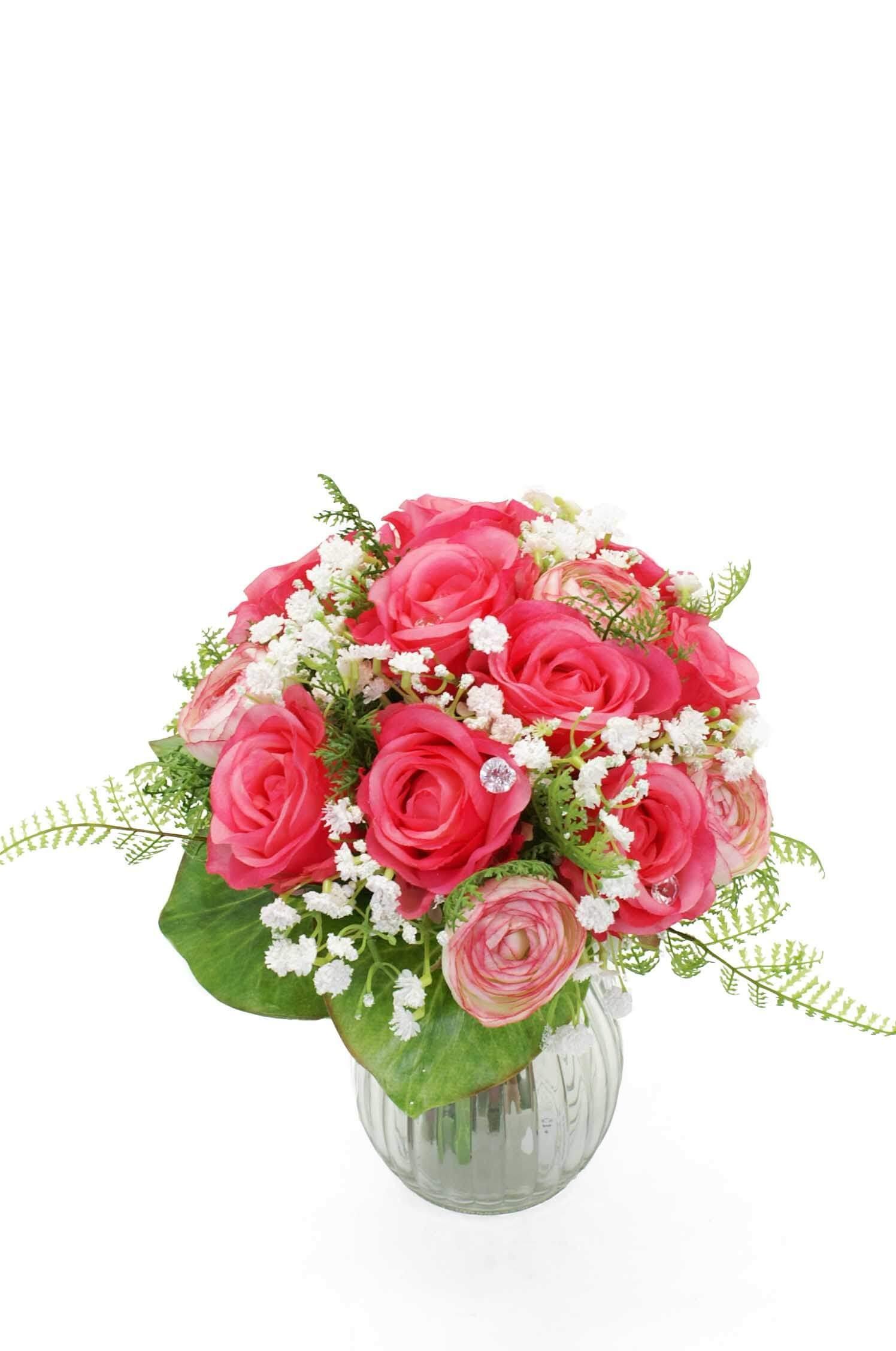 Brudbukett, rosa rosor, konstgjord
