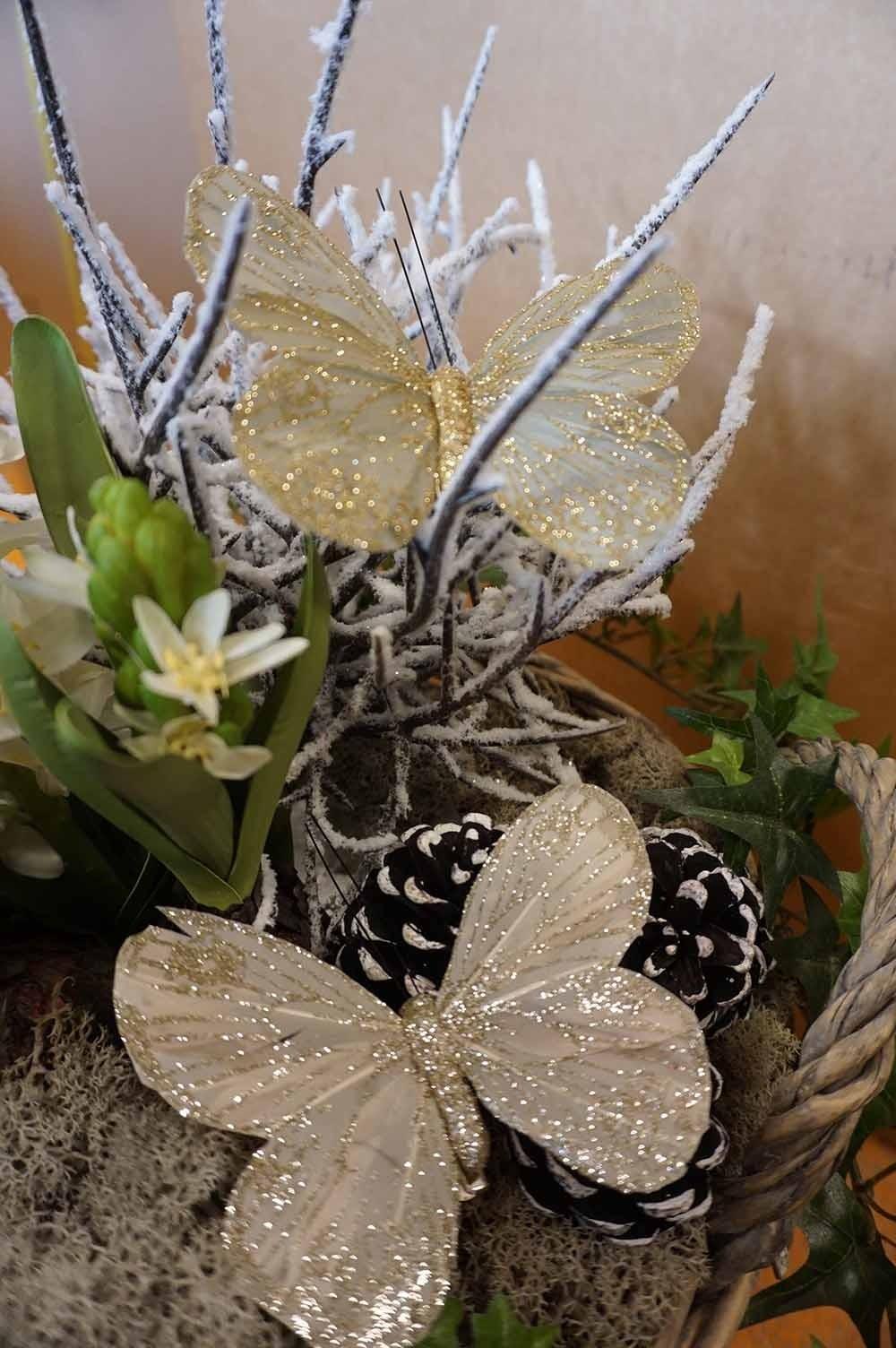 Fjäril, 2-pack, creme med glitter och mild olivgrön med glitter