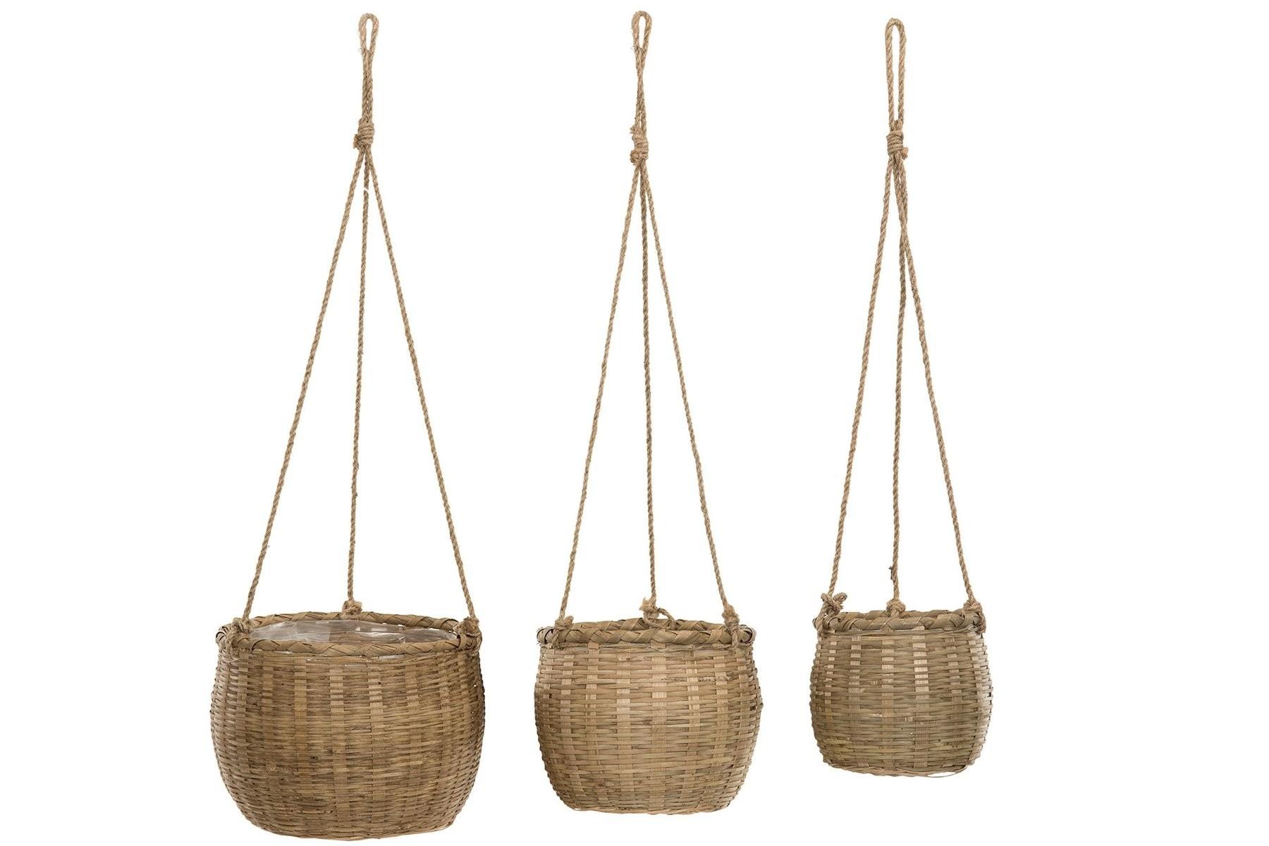 Ampel, bambu, plastfodrad, liten