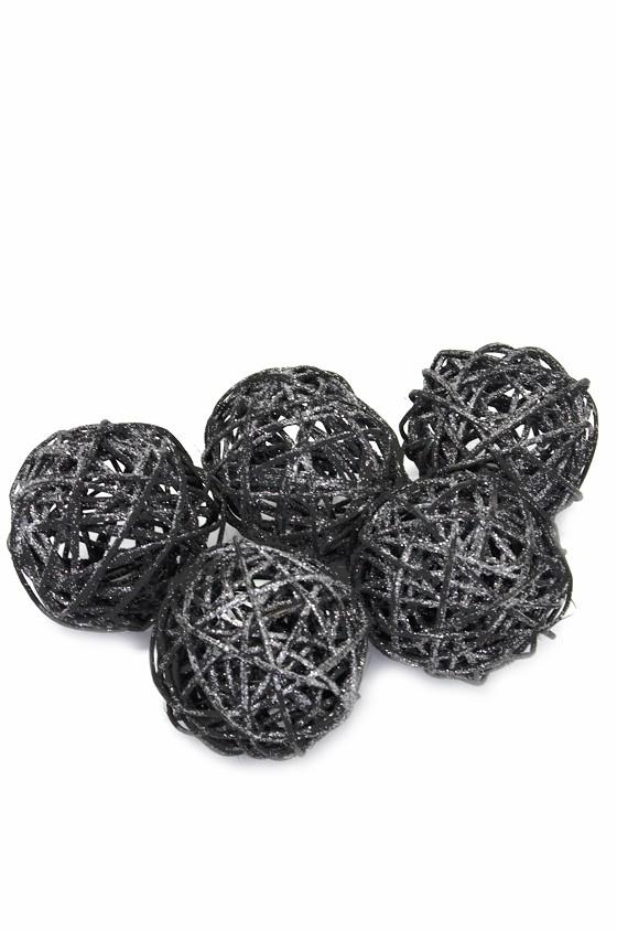 Glitterbollar, svart 5 st
