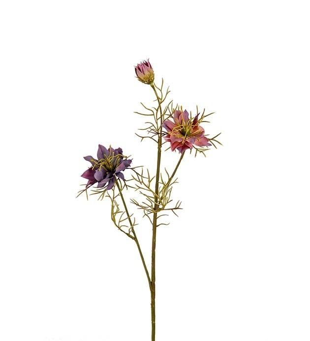 Nigella, Lila/gammelrosa toner, konstgjord blomma