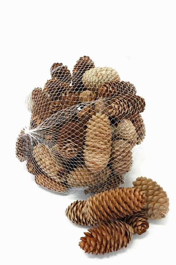 Kottar, grankotte i nätpåse, brun