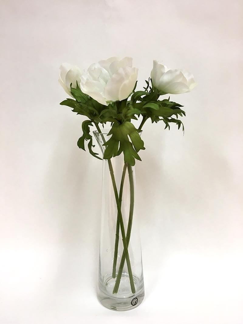 Anemon, vit med svart öga, konstgjord blomma