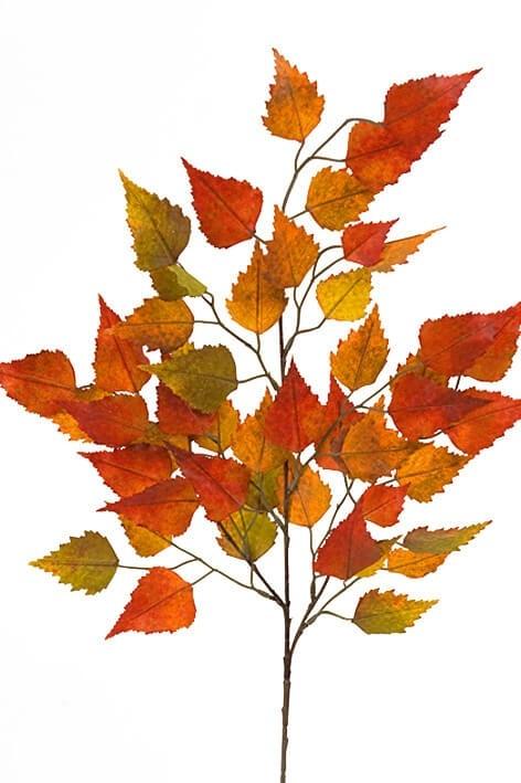 Björklöv, orange, konstgjord kvist,