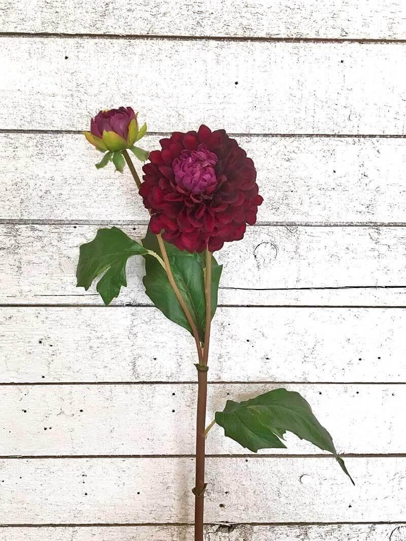 Dahlia med knopp, konstgord blomma vinröd