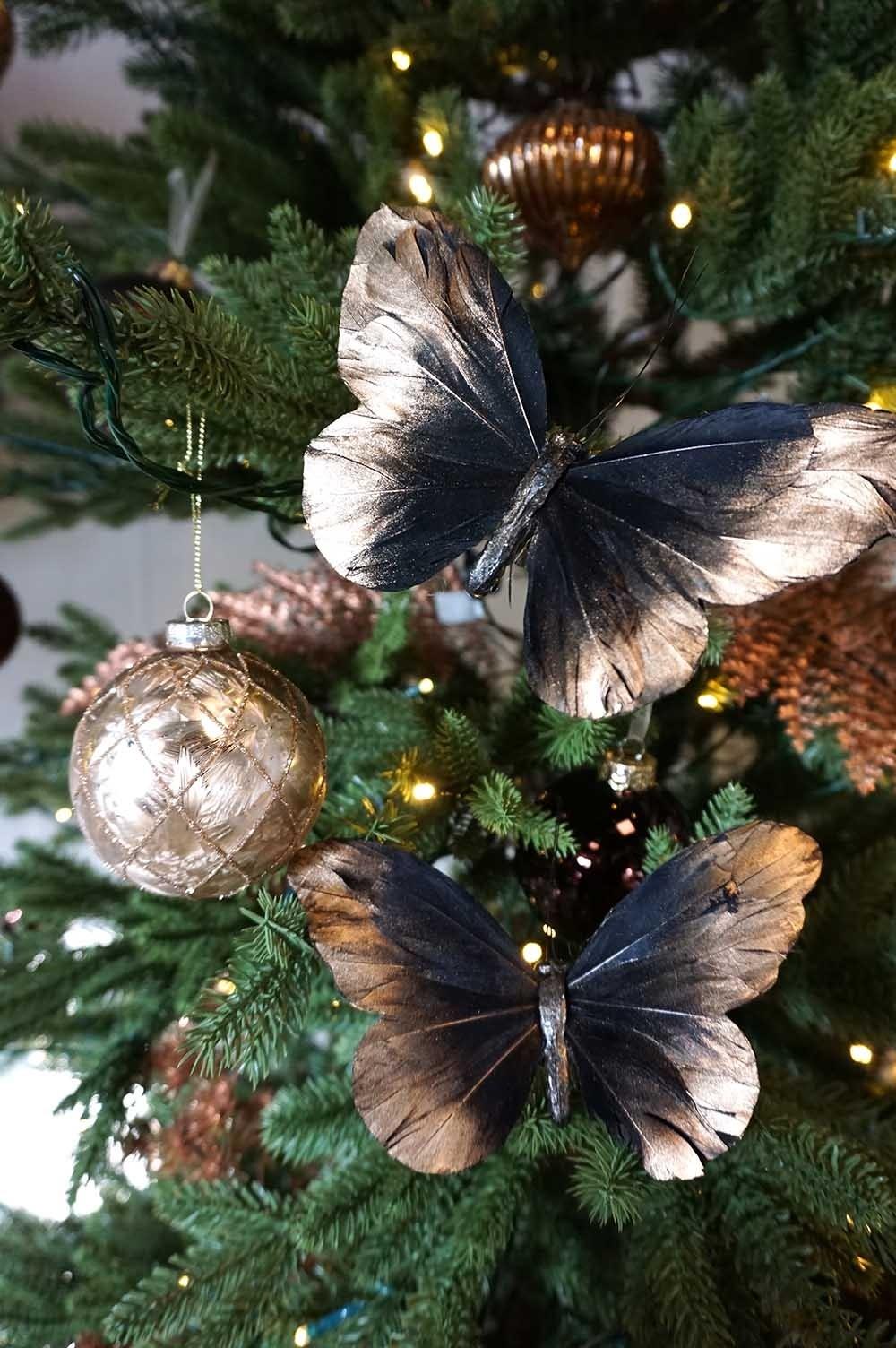 Fjäril, stor, 2 pack, skiftande från svart/brunt till guld