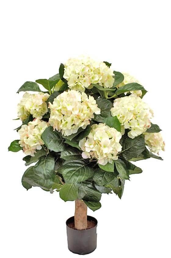 Hortensia på stam, vit rosa, konstgjord