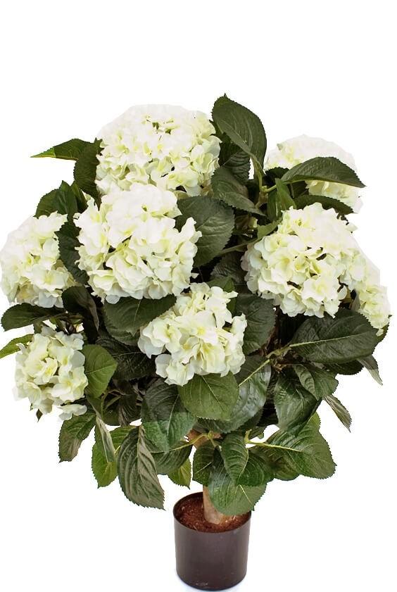 Hortensia på stam, vit, konstgjord