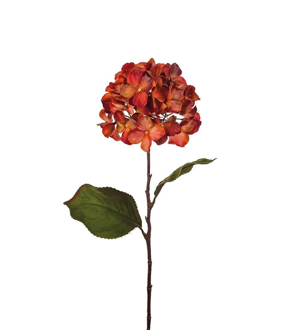 Hortensia, röd orange, konstgjorda blommor