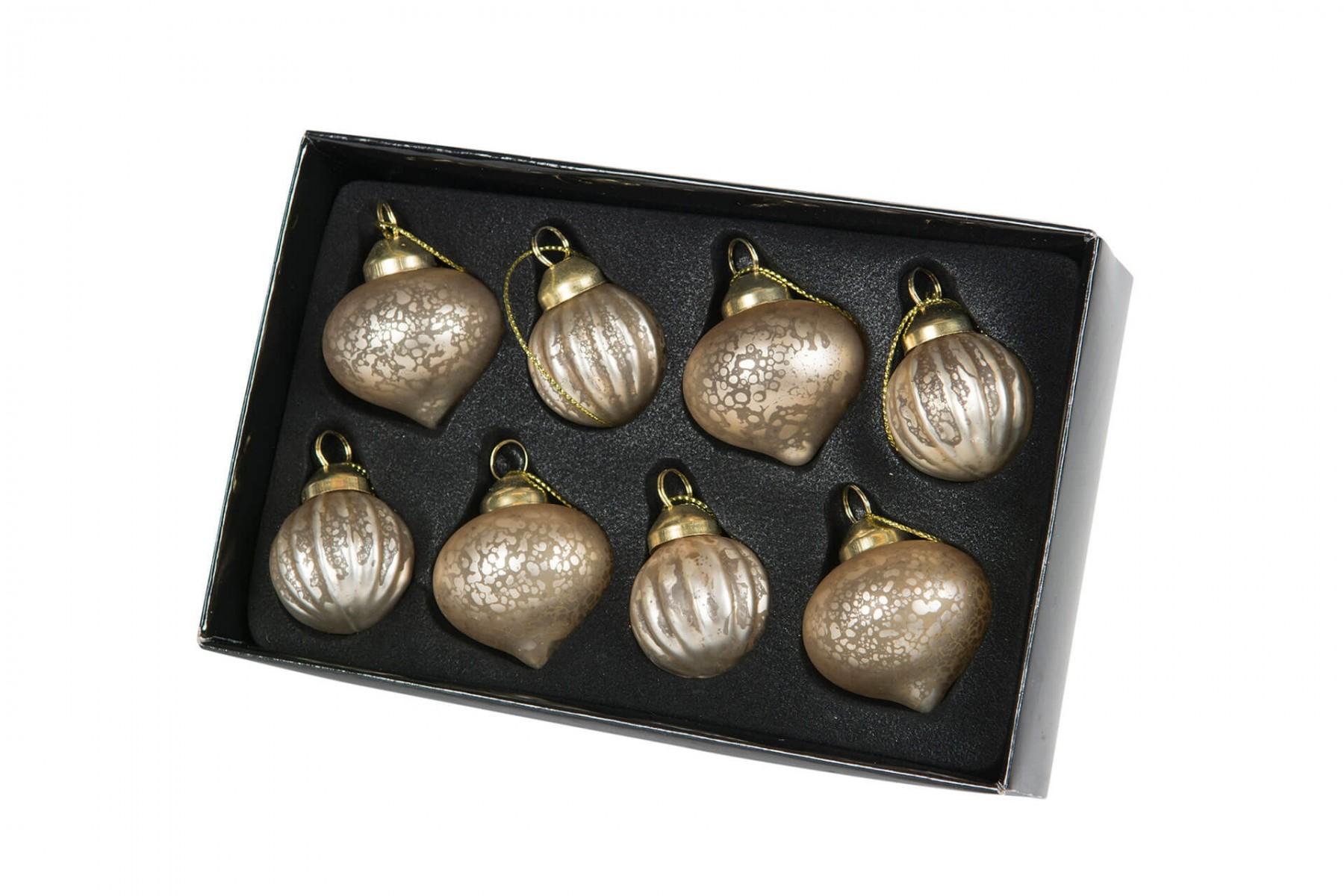 Julgranskula, 8 st minikulor guld mässing