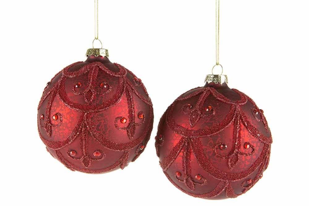 Julgranskula Barock, mörkröd 4 st