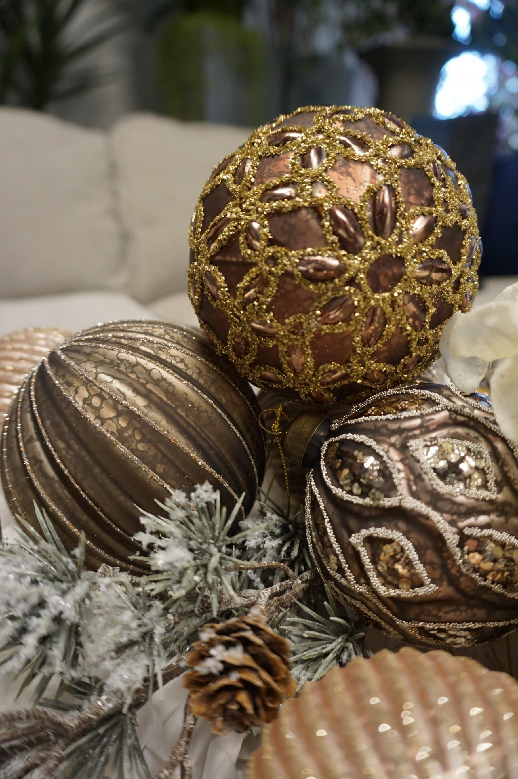 Julgranskula i glas, 2-pack,  hasselnötsbrun med guldglittrande mönster