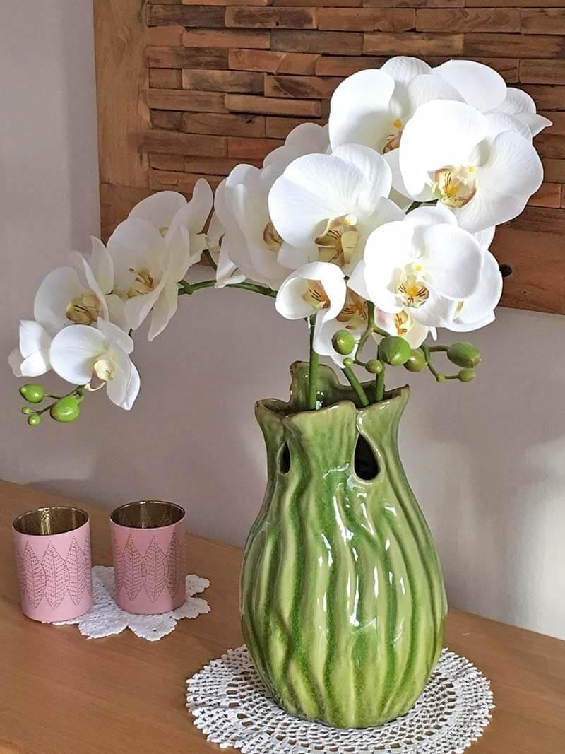 Orkidéstängel, vit, konstgjord