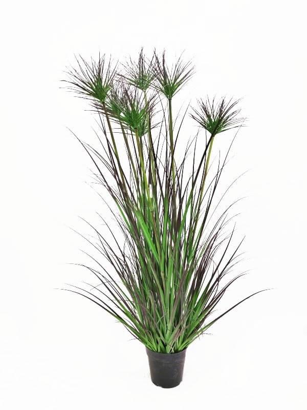 Papyrus, konstgjort gräs i kruka