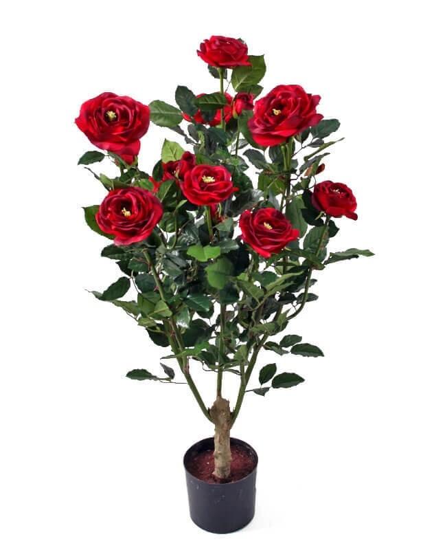 Ros i kruka, röd, konstgjord krukväxt