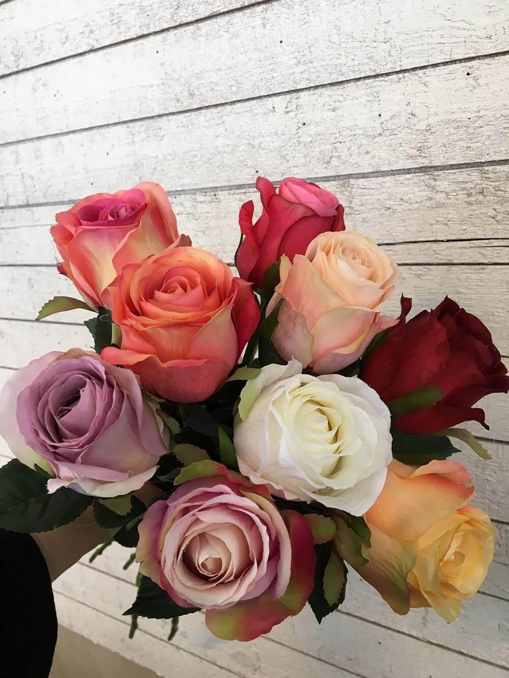 Ros, rosa med creme bas, konstgjord blomma
