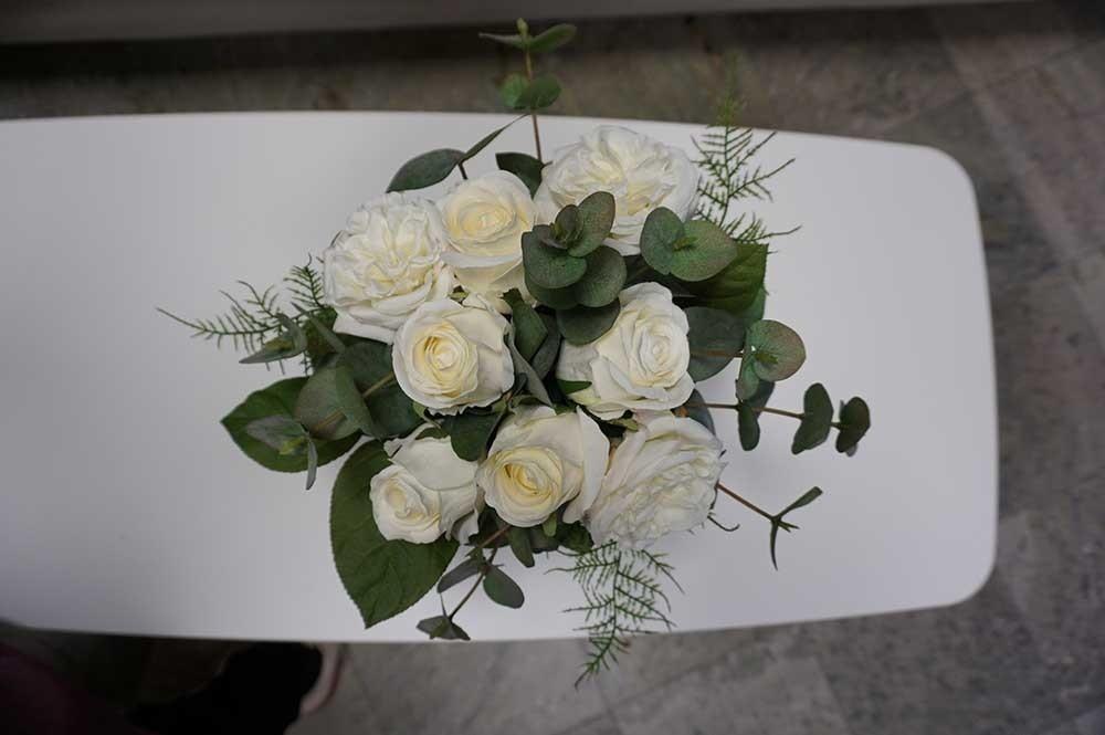 Bukett, Rosy, handbunden, konstgjord bords- eller brudbukett