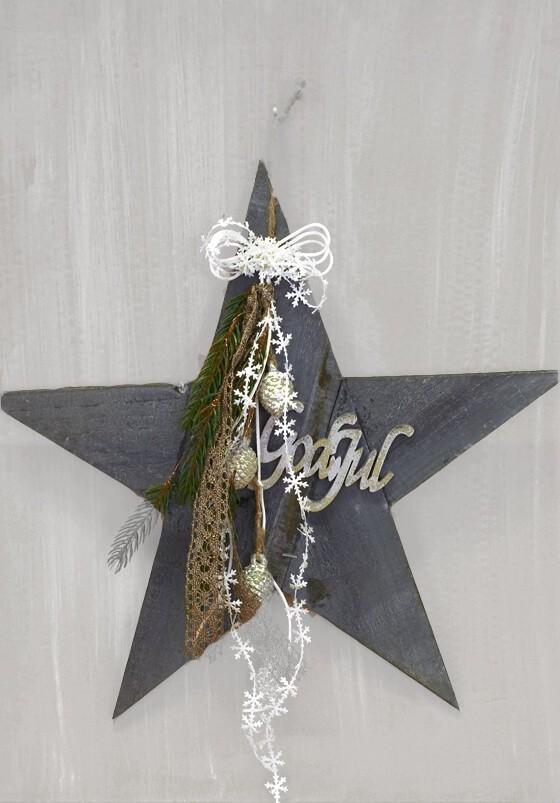 Stjärna, grå dekorerad