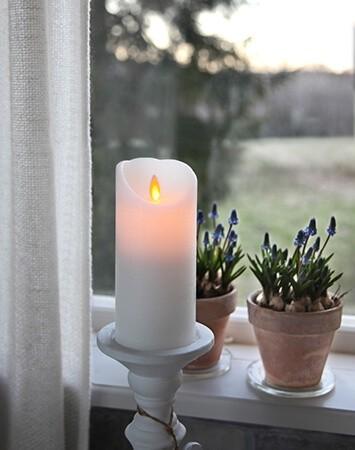 Vaxljus LED med timer & rörlig låga, vitt