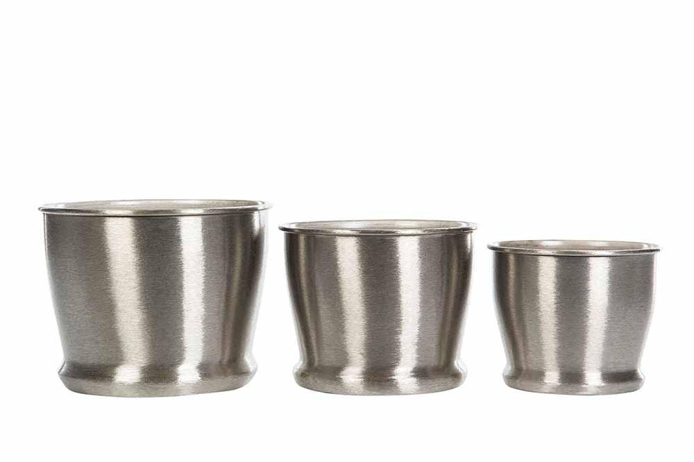 kruka borstad silver, liten