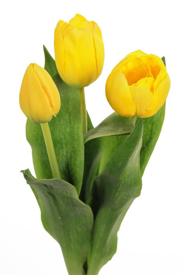 Tulpan 3-pack gul, konstgjord blomma