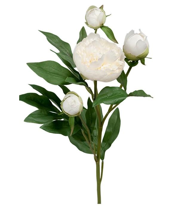 Pion, vit med knoppar, konstgjord blomma