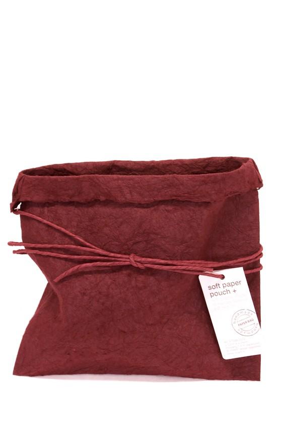 paper bag, handgjord, vinröd