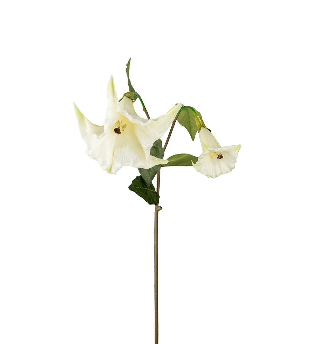 Änglatrumpet, vit konstgjord blomma med hängande stora klockor