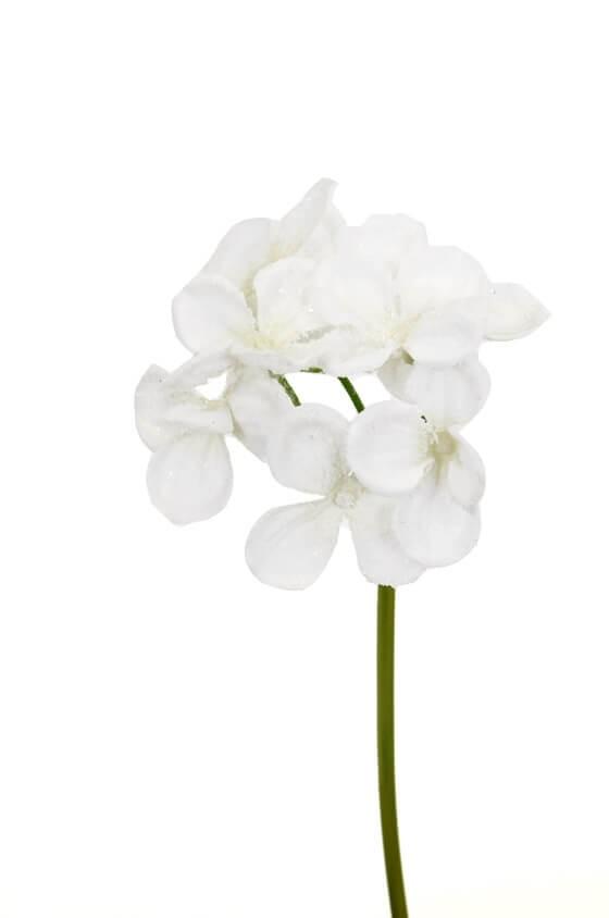 Hortensia, vit med is, konstgjord blomma