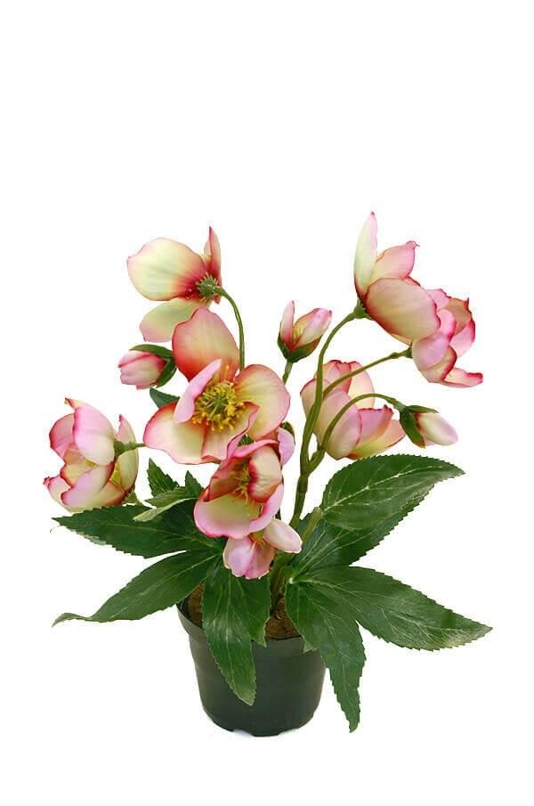 Julros i kruka, rosa, konstgjord blomma