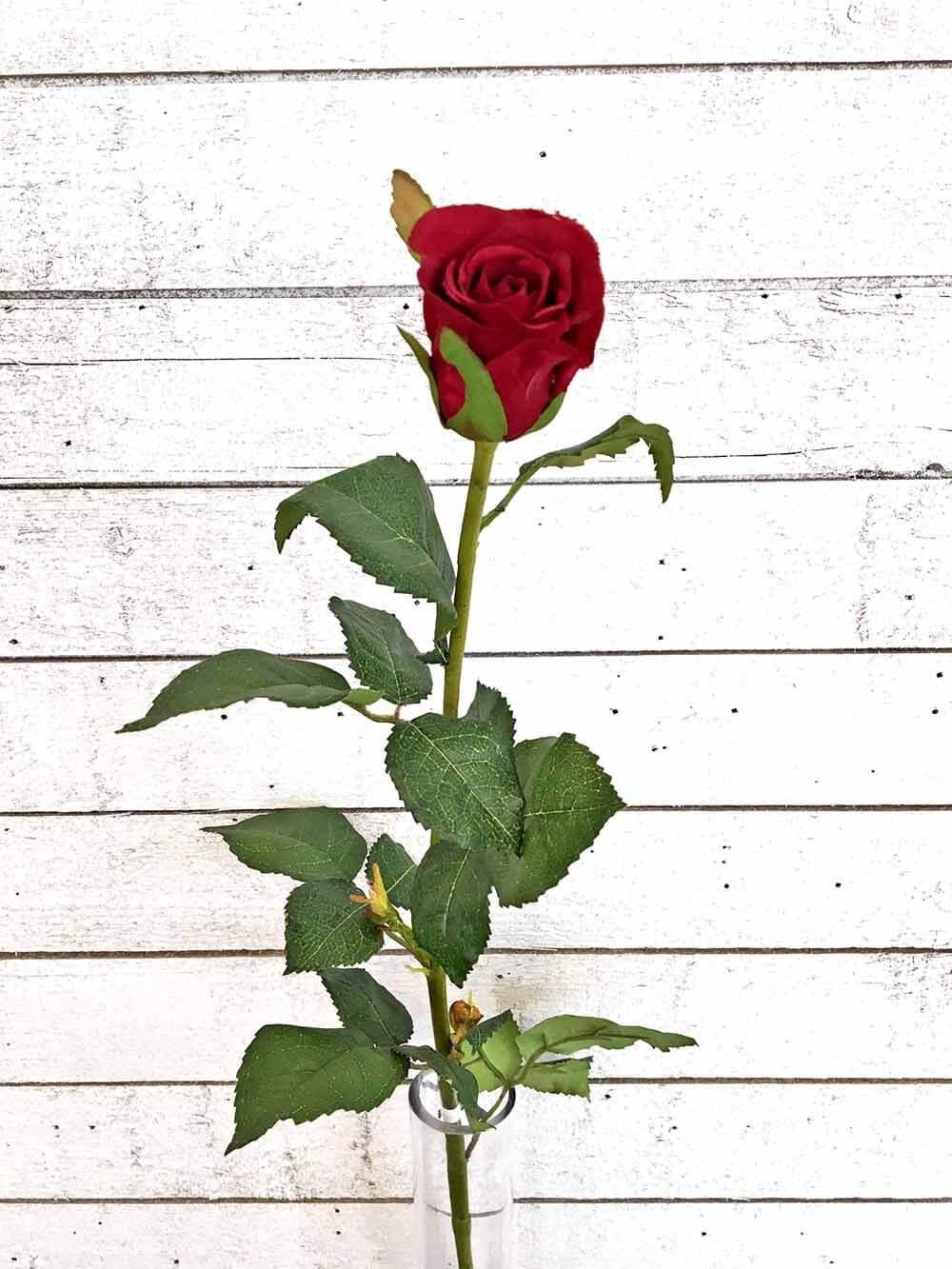 Ros, mörkt röd, konstgjord blomma
