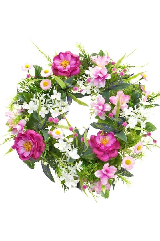 Krans, cerise rosor, konstgjord