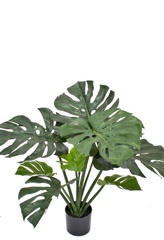 Monstera, konstgjord grön krukväxt