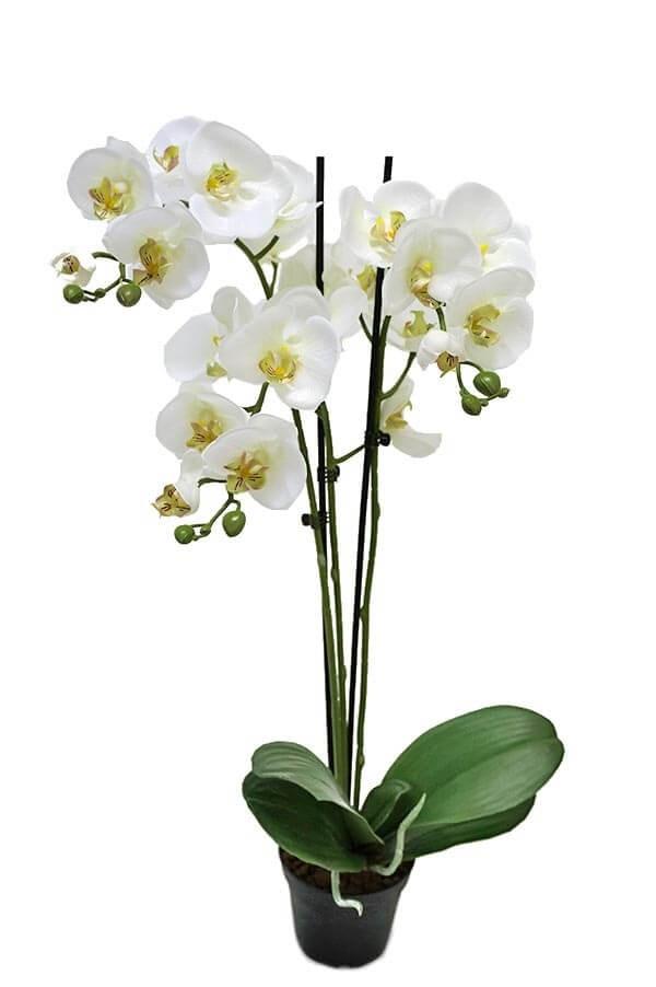 Orkidé 3-stängel, vit, konstgjord