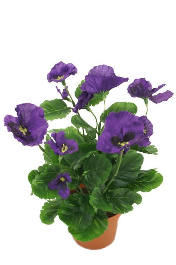 Pensé i kruka, blå, konstgjord blomma