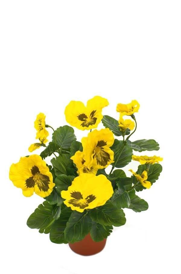 Pensé i kruka, gul, konstgjord blomma