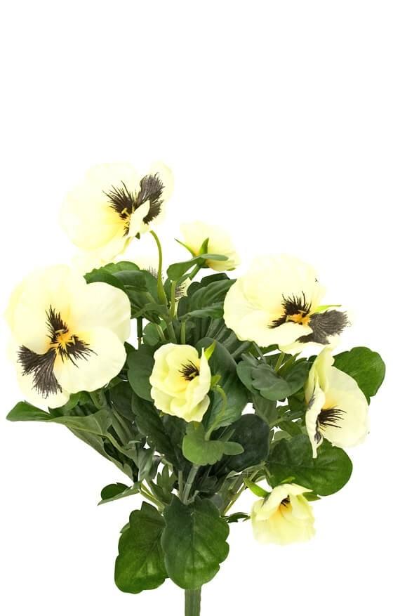 Pensé, ljusgul, konstgjord blomma