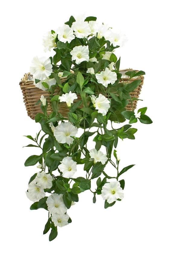 Petunia häng i kruka, vit, konstgjord
