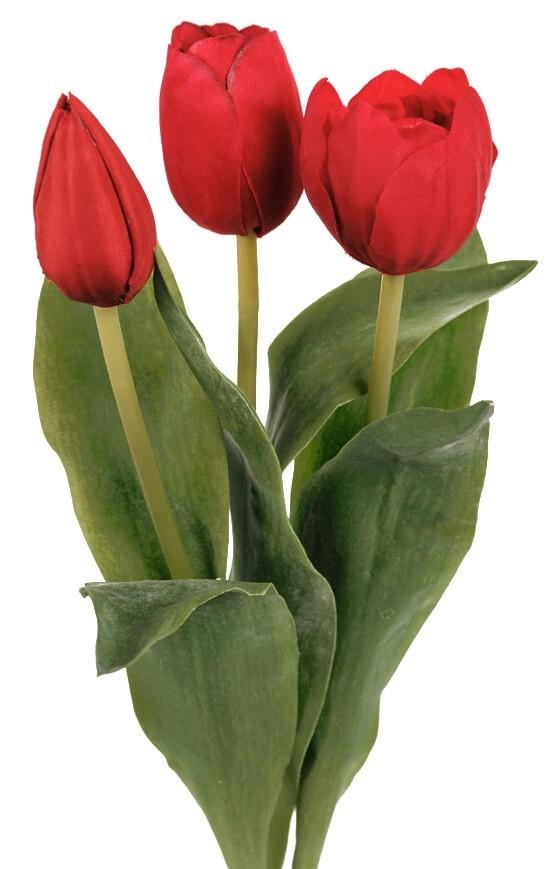 Tulpan 3-pack, röd, konstgjord blomma
