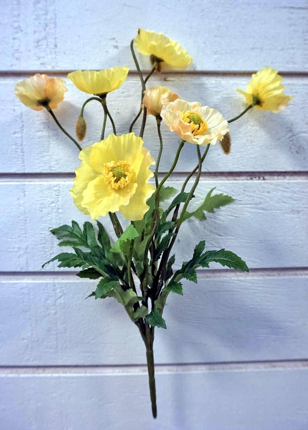 Vallmo, gul, konstgjord blomma