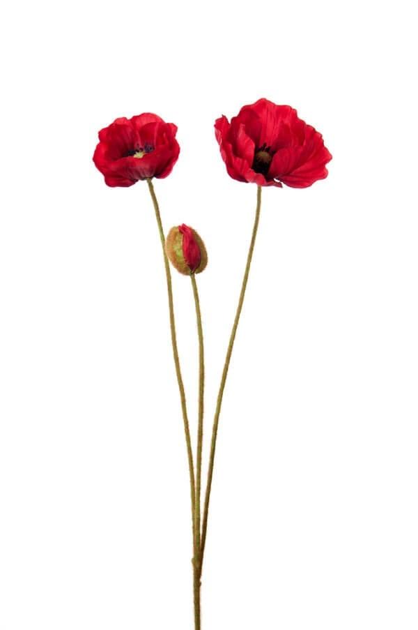 Vallmo, röd, konstgjord blomma