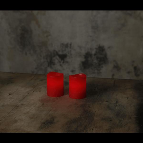 Vaxljus, rött, LED med timer
