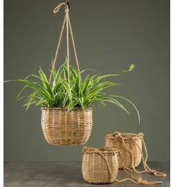 Ampel, bambu, plastfodrad, stor