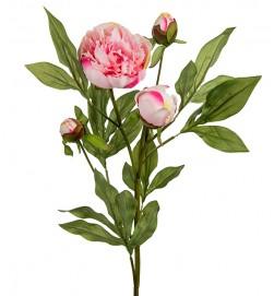 Pion, ljusrosa med knoppar, konstgjord blomma