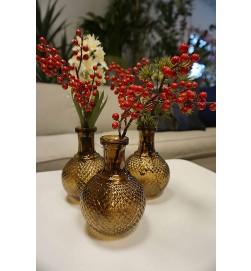 Ilex, liten kvist järnek med röda bär, konstgjord