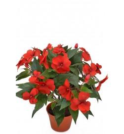 Flitiga Lisa, röd, konstgjord krukväxt sommarblomma