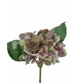 Hortensia, olivgrön lila, konstgjord blomma