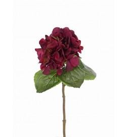 Hortensia, röd, konstgjord blomma