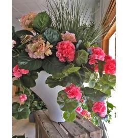 Hängpelargon, rosa, konstgjord hängväxt, sommar